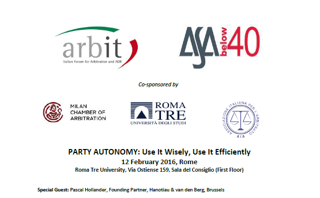 ARBIT - ASA Below 40 Joint Event Programme -- 12.2.2016 Rome