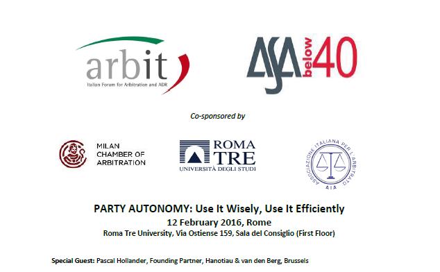 ARBIT - ASA Below 40 Joint Event Programme -- 12.2.2016 Rome